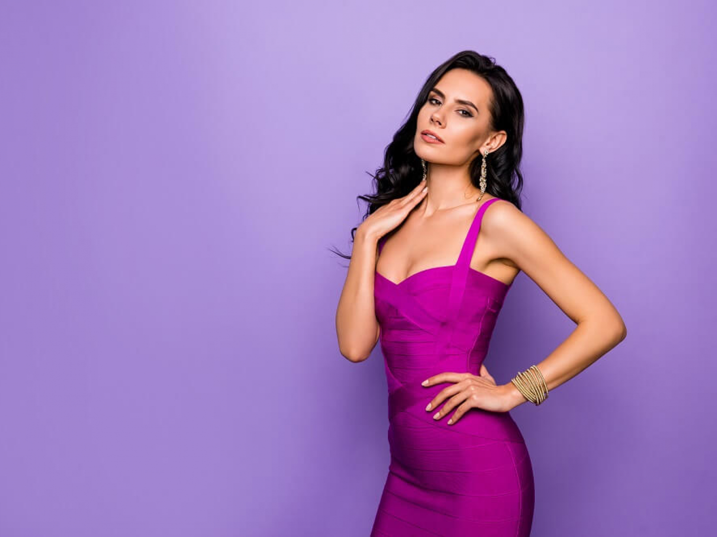 Portrait of her she nice-looking attractive lovely exquisite charming luxury graceful wavy-haired lady posing touching neck isolated over violet purple lilac pastel background
